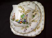 Tuscan china Art Deco trio - flower garden